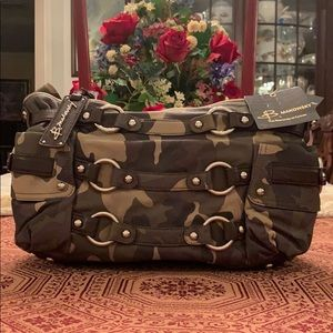 B. Makowsky Camo Leather Tote
